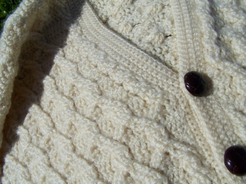 aran sweater closeup