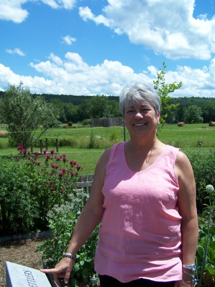 Judi in the historic garden at Fort Edwards, Capon Bridge, WV