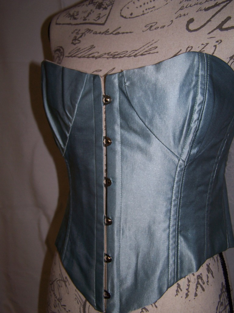 Prussian Blue Silk Corset